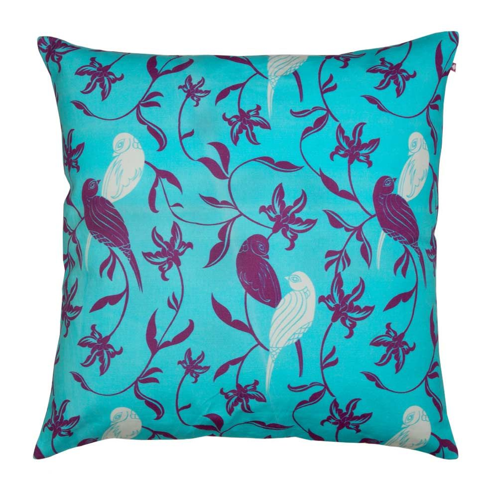 Chirping Birds Blue Cushion Cover