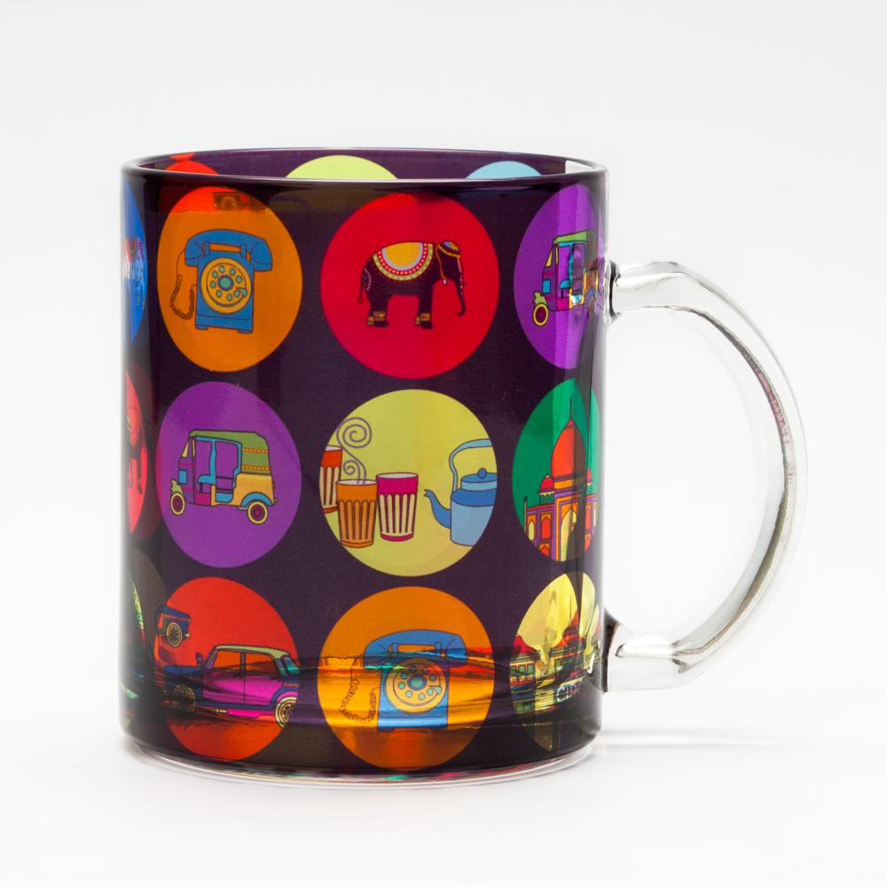 India Vibrant Glass Mug