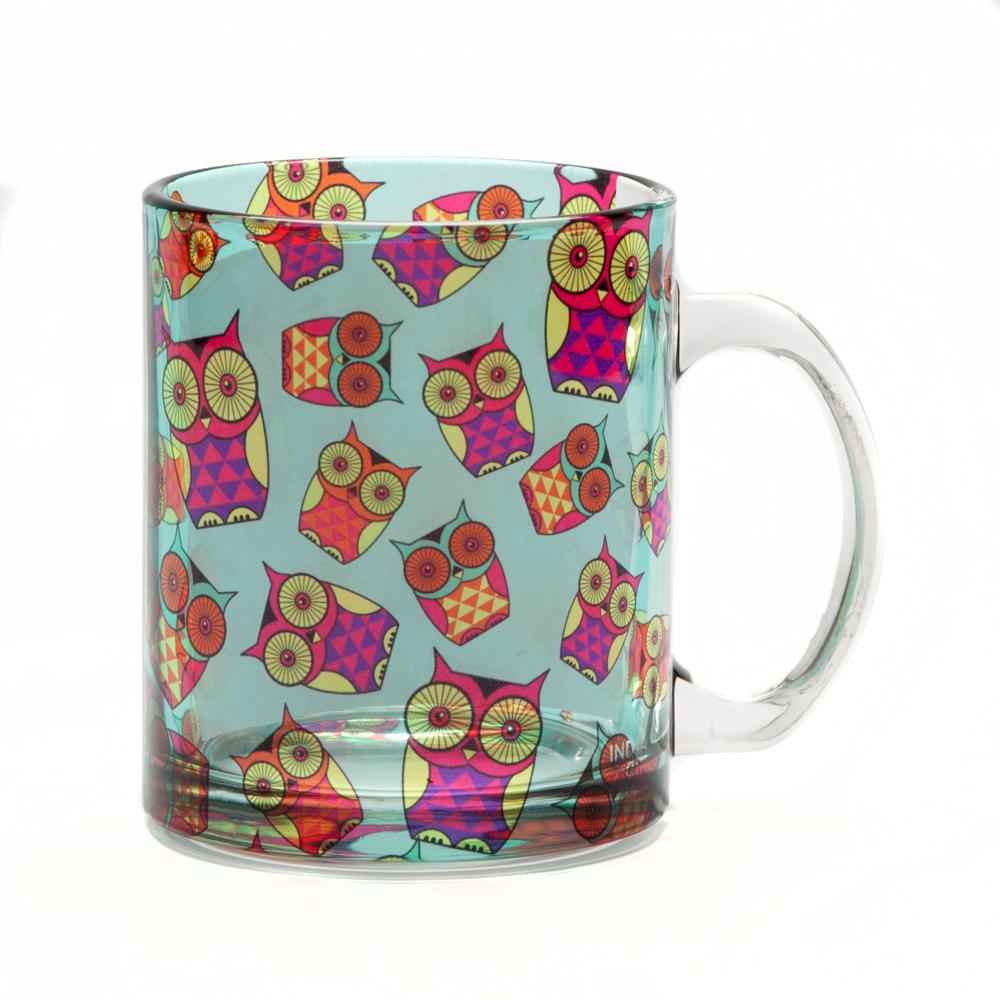 Peeking Owls Glass Mug
