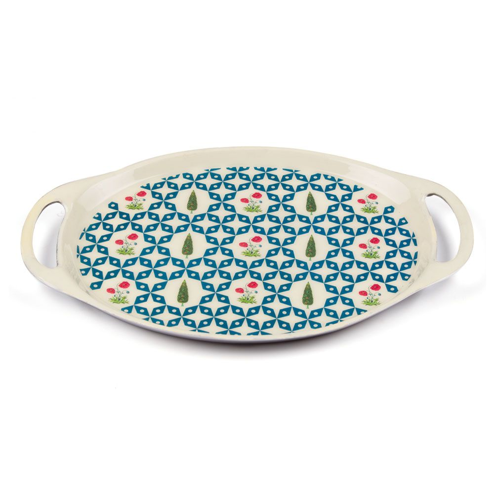 Flowers and Ferns Oval Serving Platter