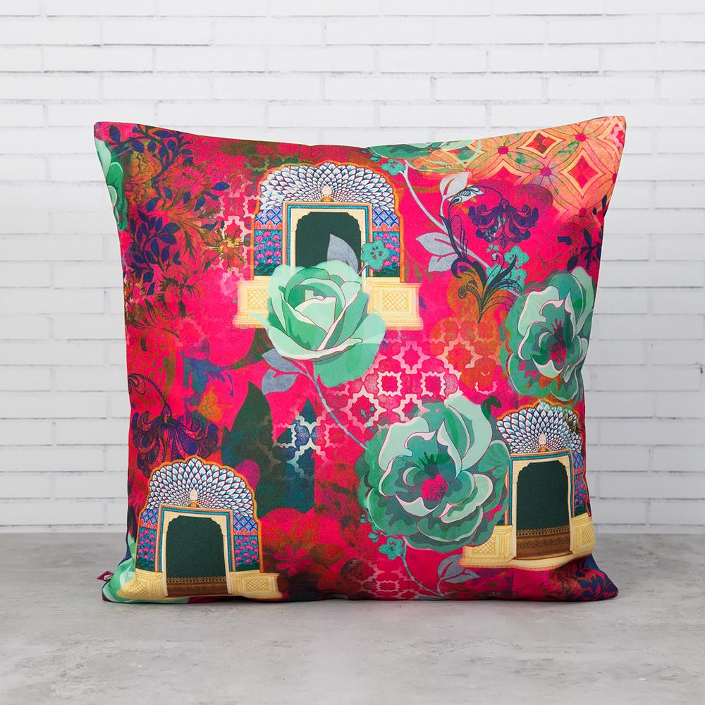 Fuchsia Aftershock Poly Canvas Cushion Cover