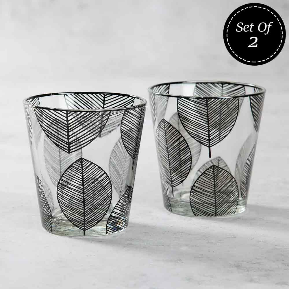 Monochrome Monologues Glass Tumbler (Set of 2)