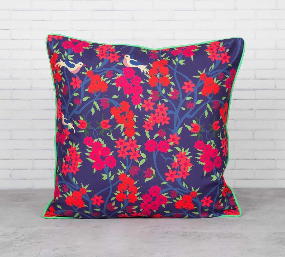 Flower Power Satin Blend Cushion Cover