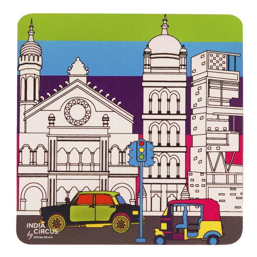 City Grand Colour Rubber Coasters - (Set of 6)