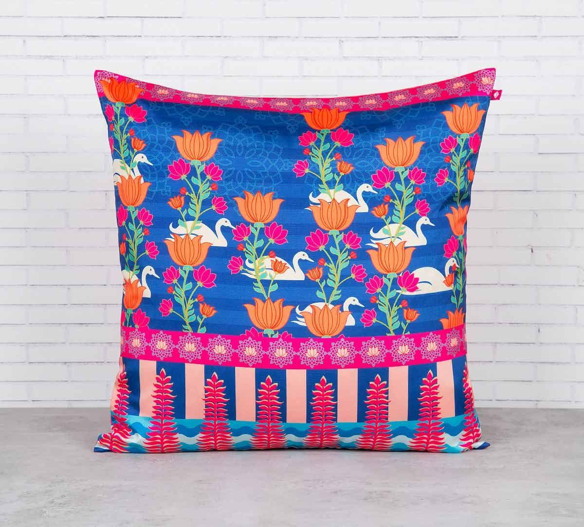 India Circus Abies Alba Lotus Duck Pond Blended Taf Silk Cushion Cover