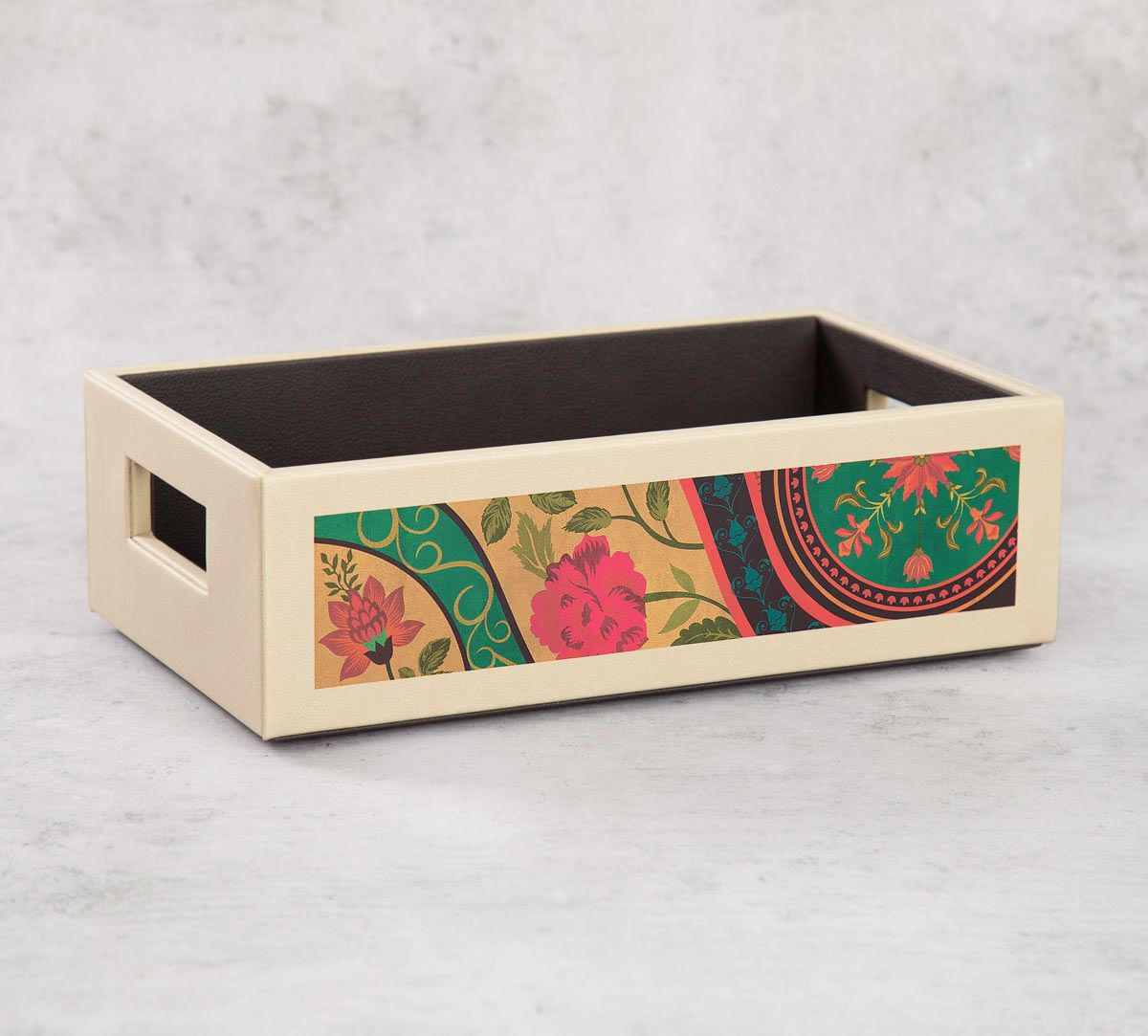 India Circus Floral Embroidery Leather Tray