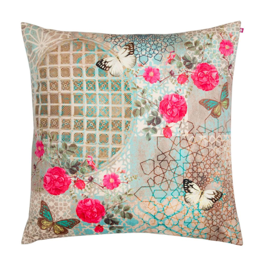Floral Trance Poly Velvet Floor Cushion Cover