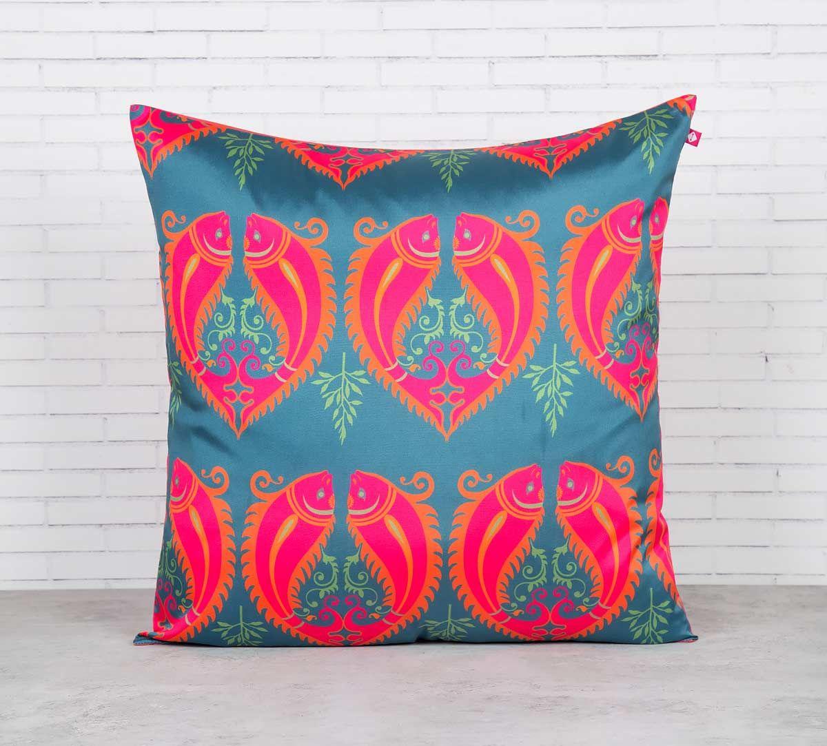 India Circus Fuchsia Fish Romance Blended Taf Silk Cushion Cover