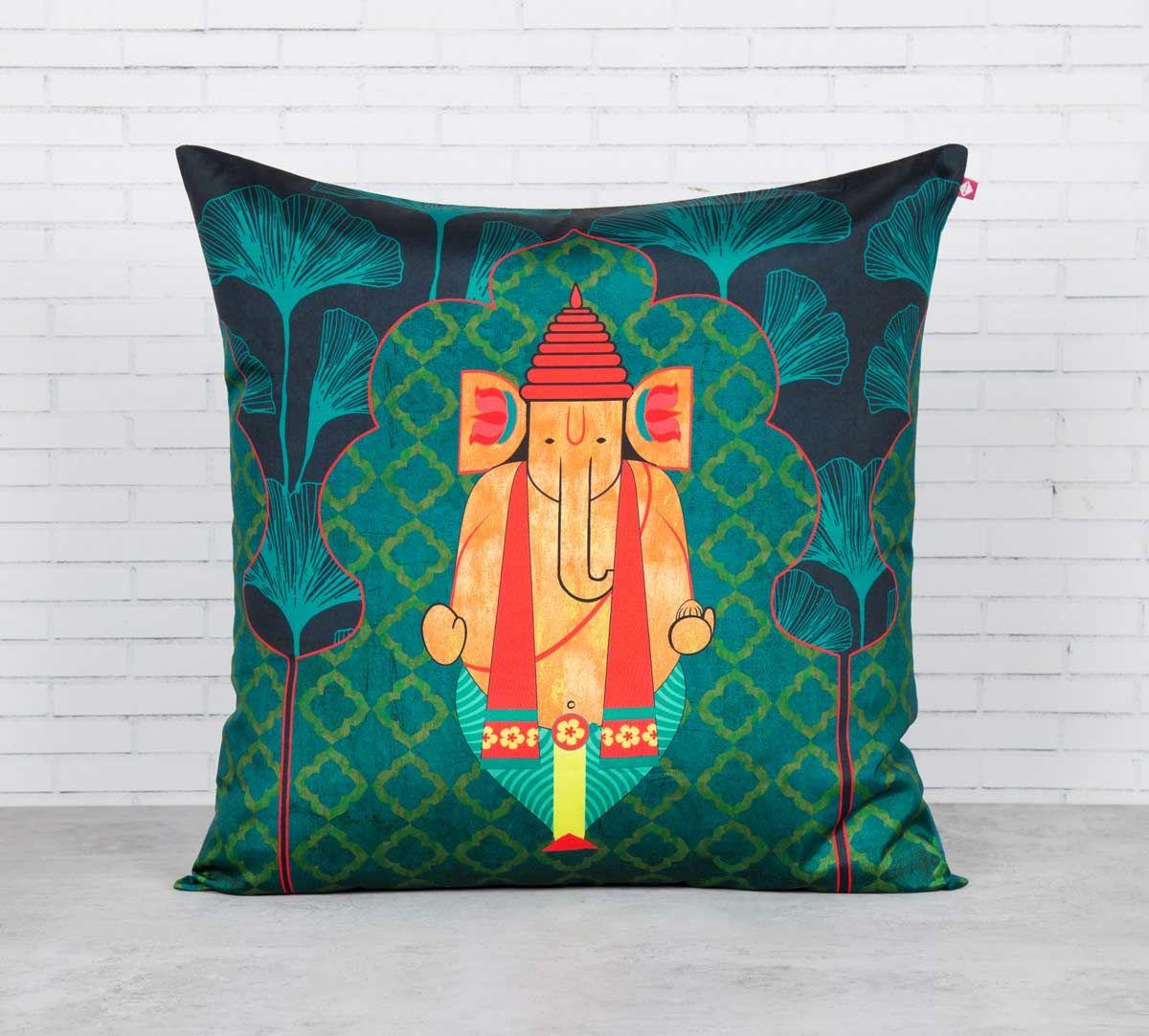 India Circus Ganeshas Riad Arch Blended Taf Silk Cushion Cover