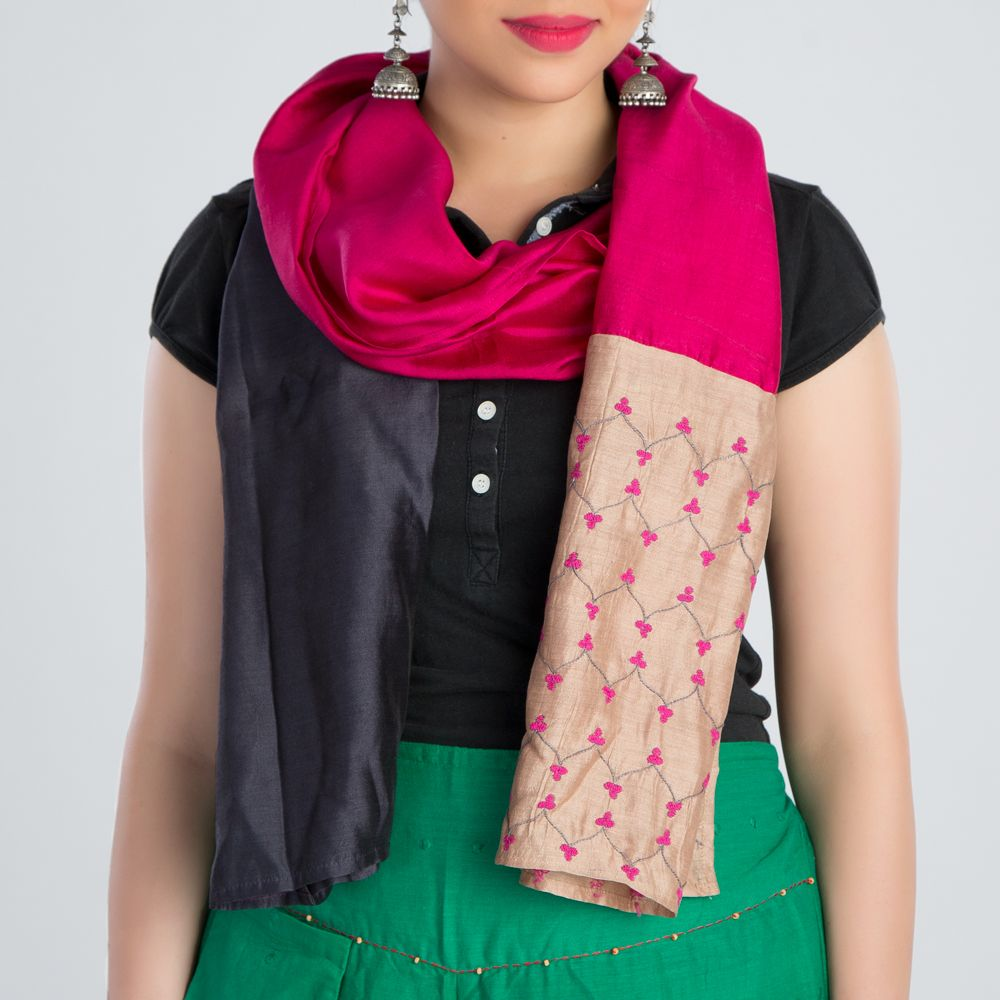 Grey Pink Embroidered Silk Stole