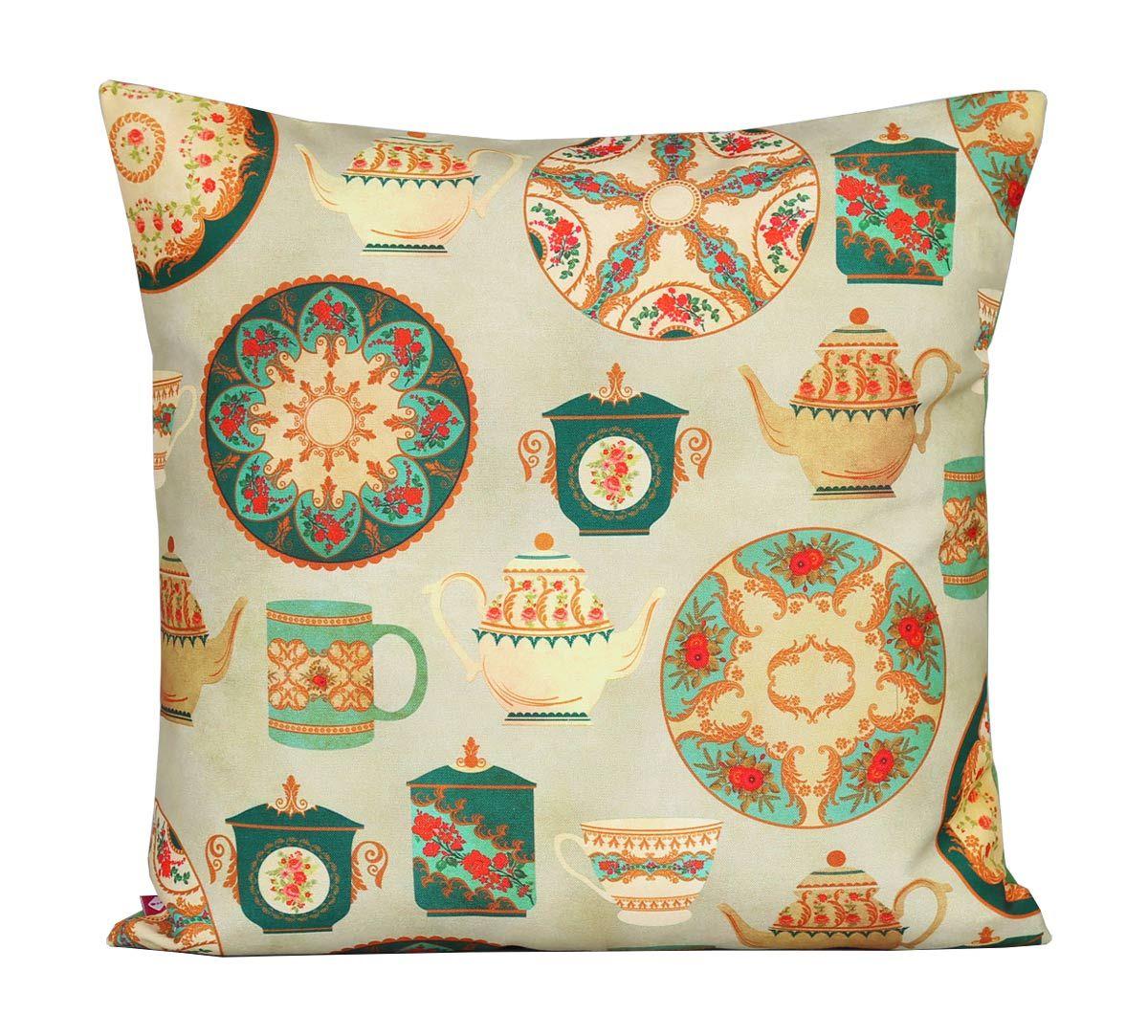 India Circus All About Tea Canvas Cushion Cover