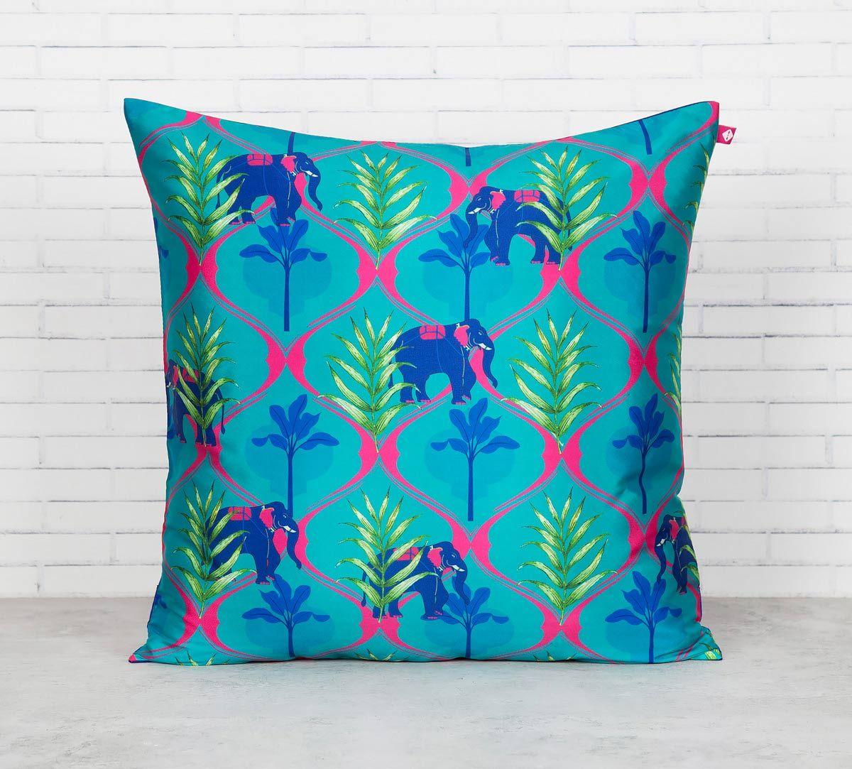 India Circus Aqua Jungle Safari Blended Taf Silk Cushion Cover