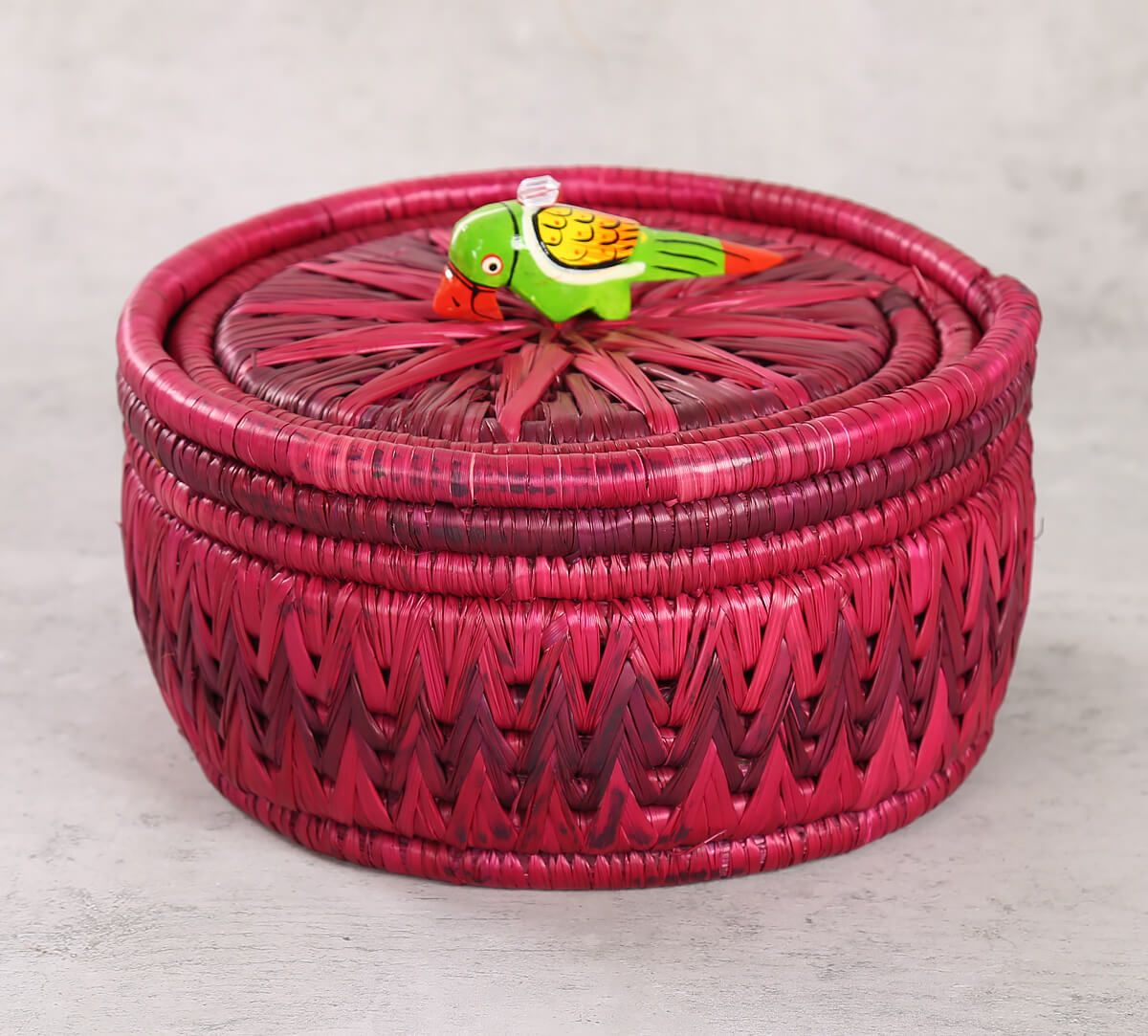 India Circus Badohi Hand Woven Purple Basket