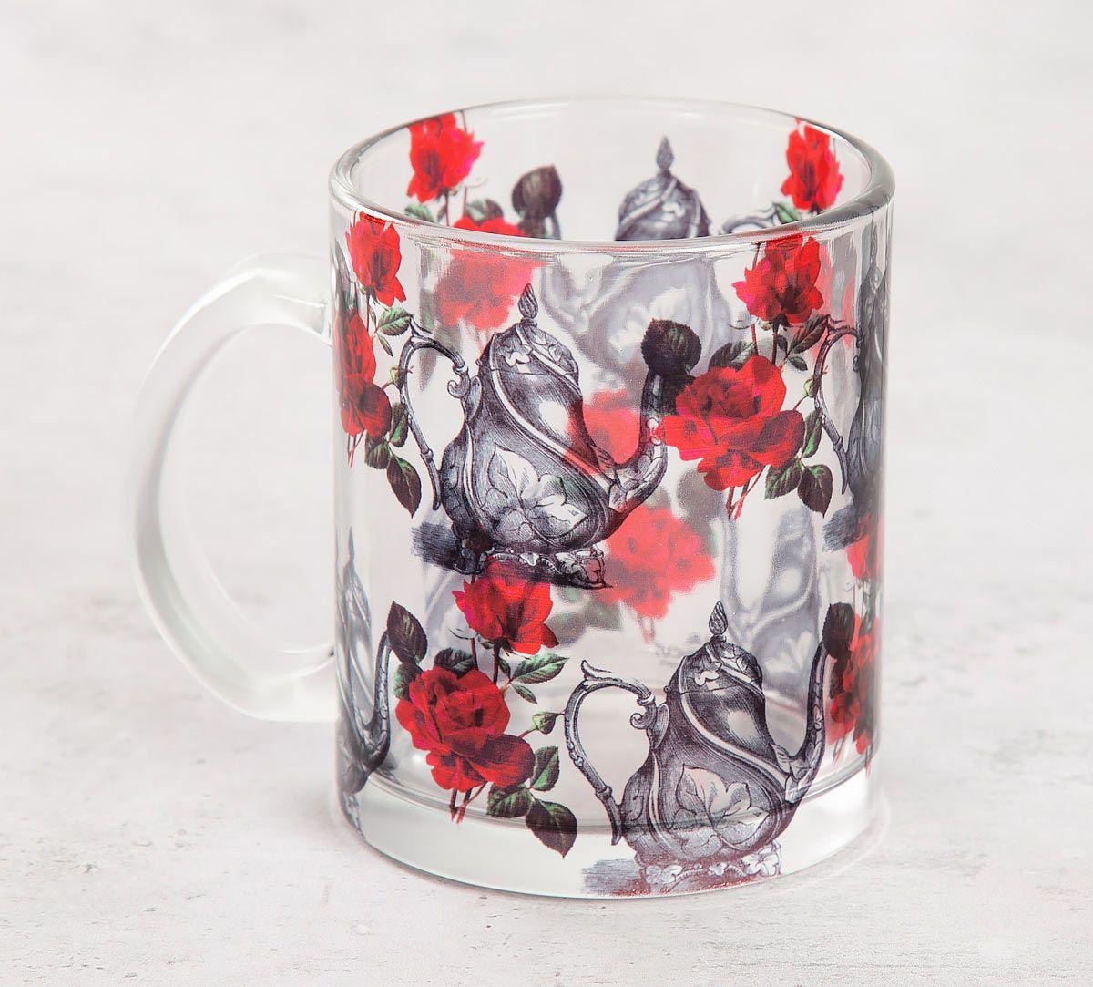 India Circus Beige Mystic Rose Kettles Glass Mug