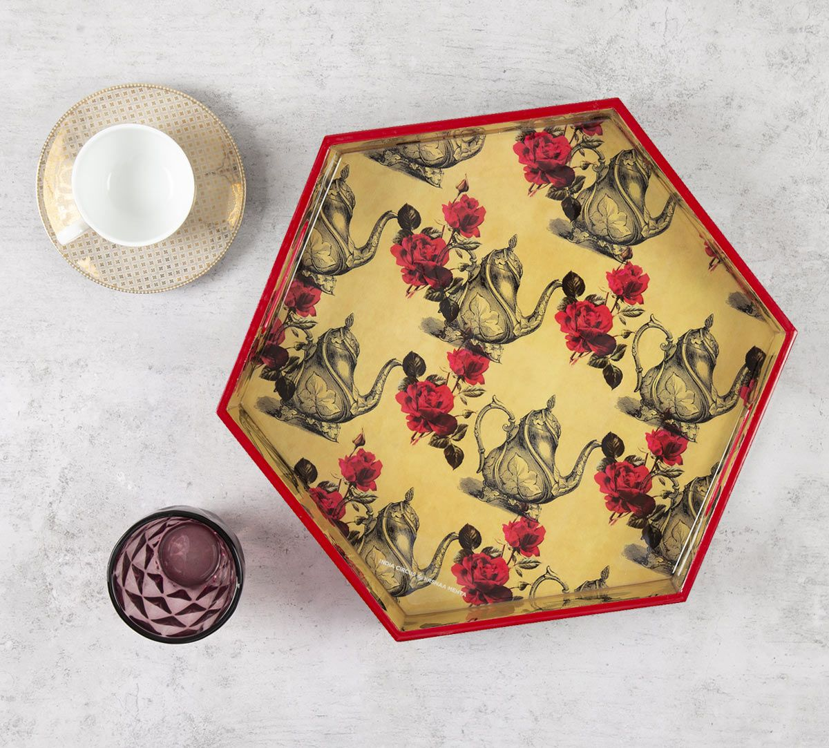 India Circus Beige Mystic Rose Kettles Hexagon Serving Tray