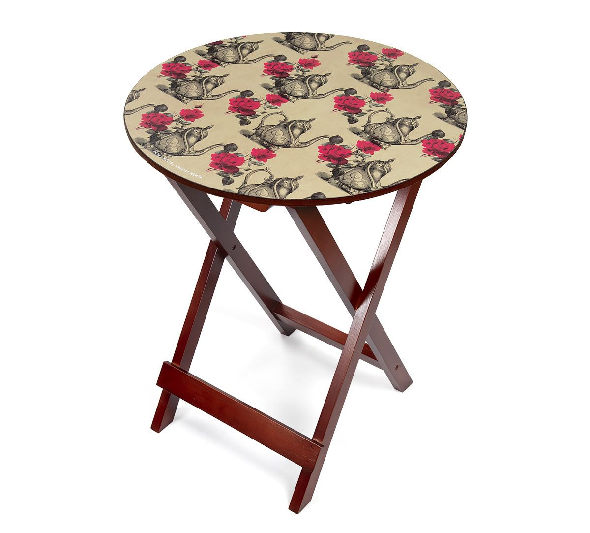 India Circus Beige Mystic Rose Kettles Round Side Table