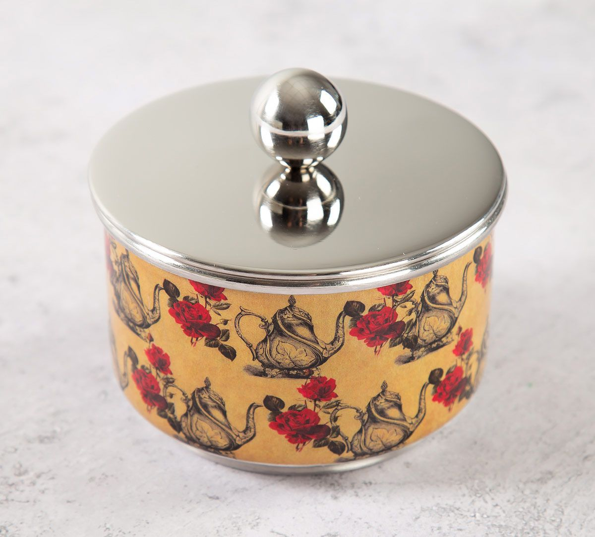 India Circus Beige Mystic Rose Kettles Steel Bowl with Lid