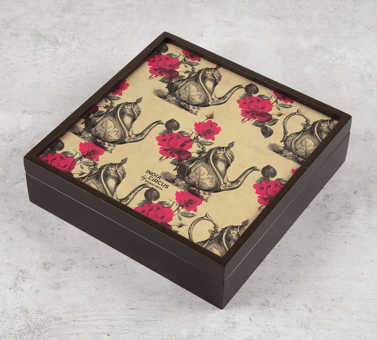 India Circus Beige Mystic Rose Kettles Storage Box