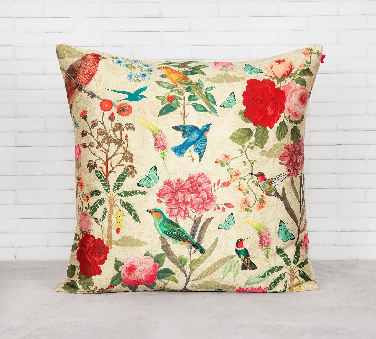 India Circus Bird Land Blended Taf Silk Cushion Cover