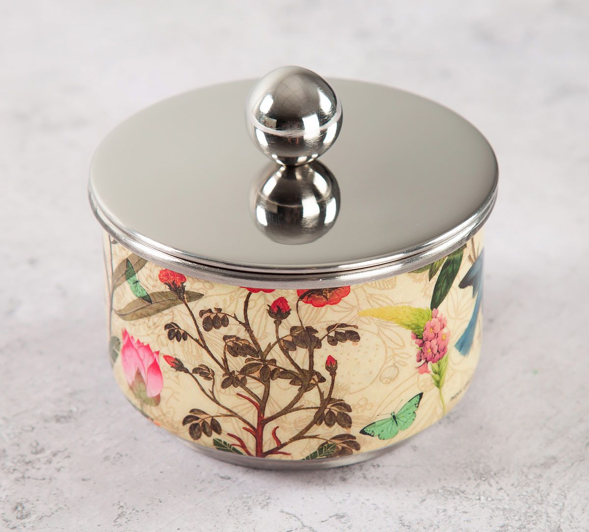 India Circus Bird Land Steel Bowl with Lid