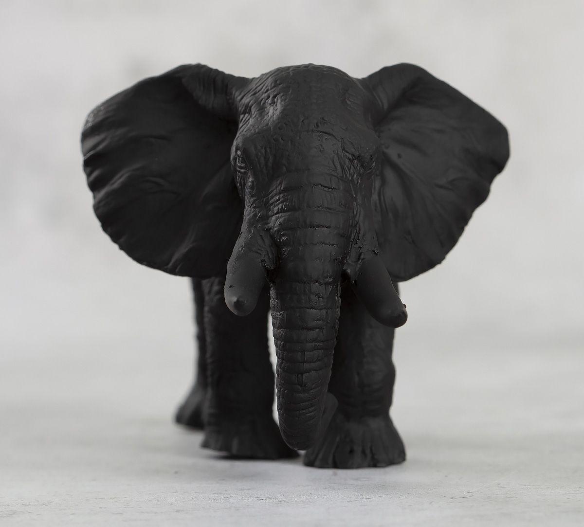 India Circus Black Baby Elephant Figurine