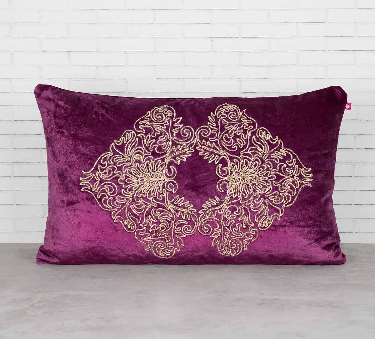 India Circus Bloom Integration Purple Embroidered Velvet Cushion Cover