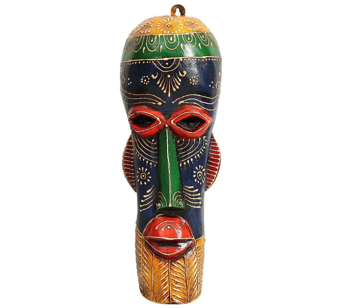 India Circus Blue&Yellow Gremlin Decorative Wooden Mask