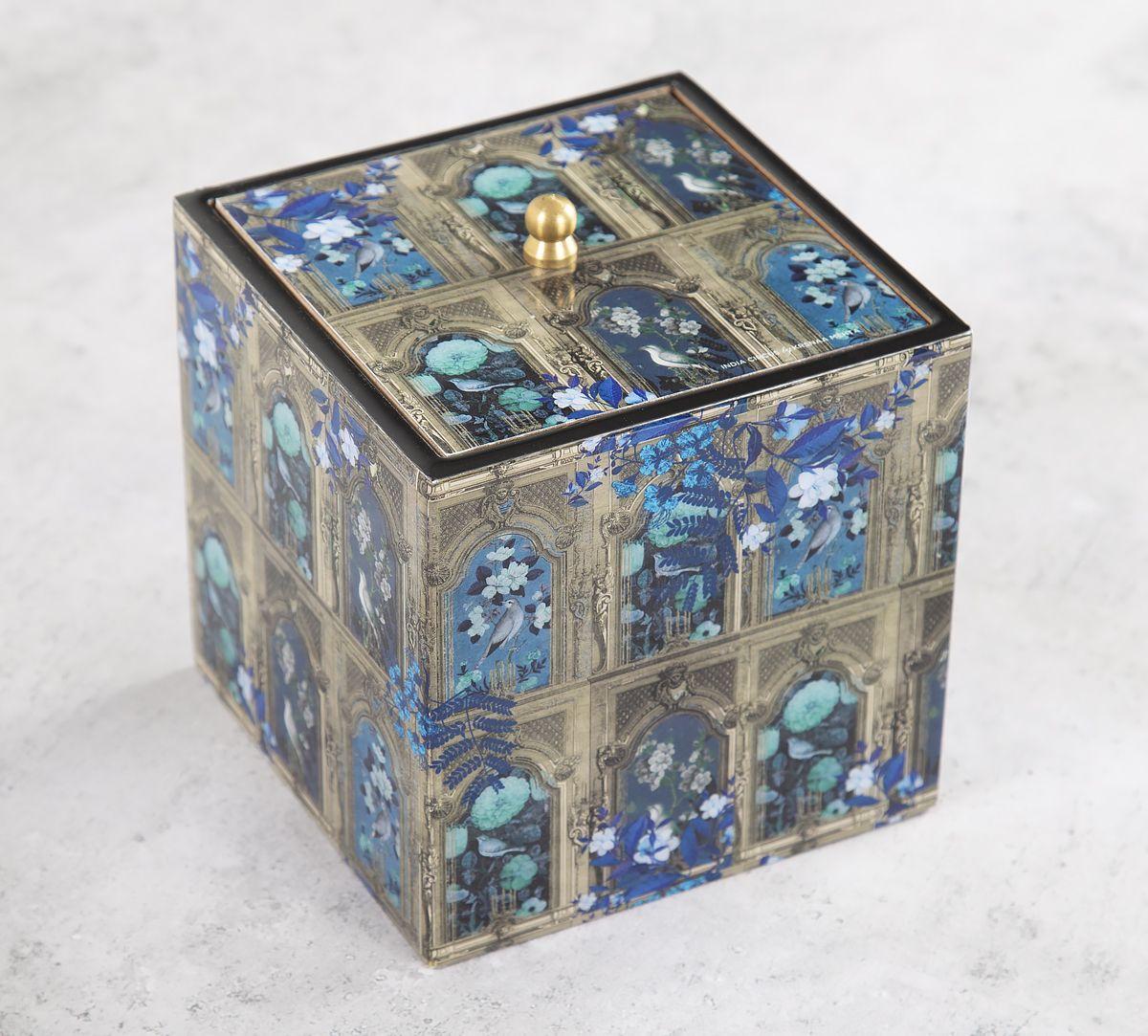 India Circus Blue Departed Memoirs Square Storage Box