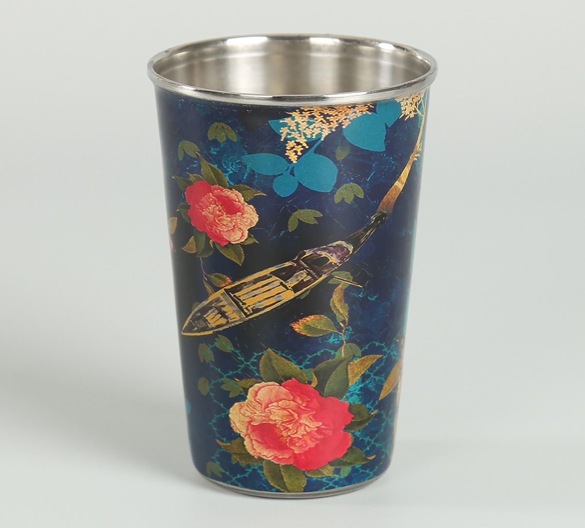 India Circus Blue Floral Lake Inception Steel Tumbler (Set of 2)