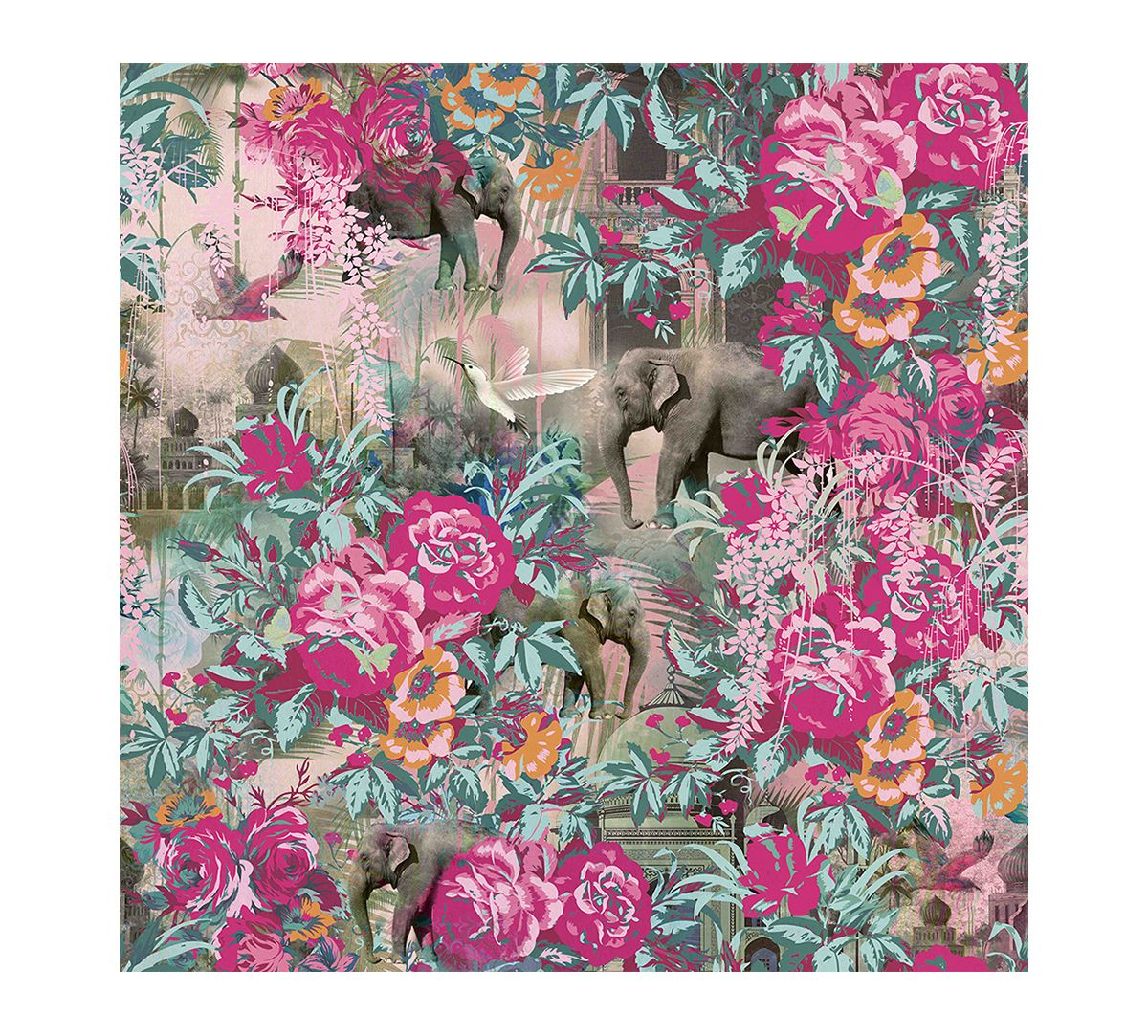 India Circus Blush The Great Indian Collage Wallpaper