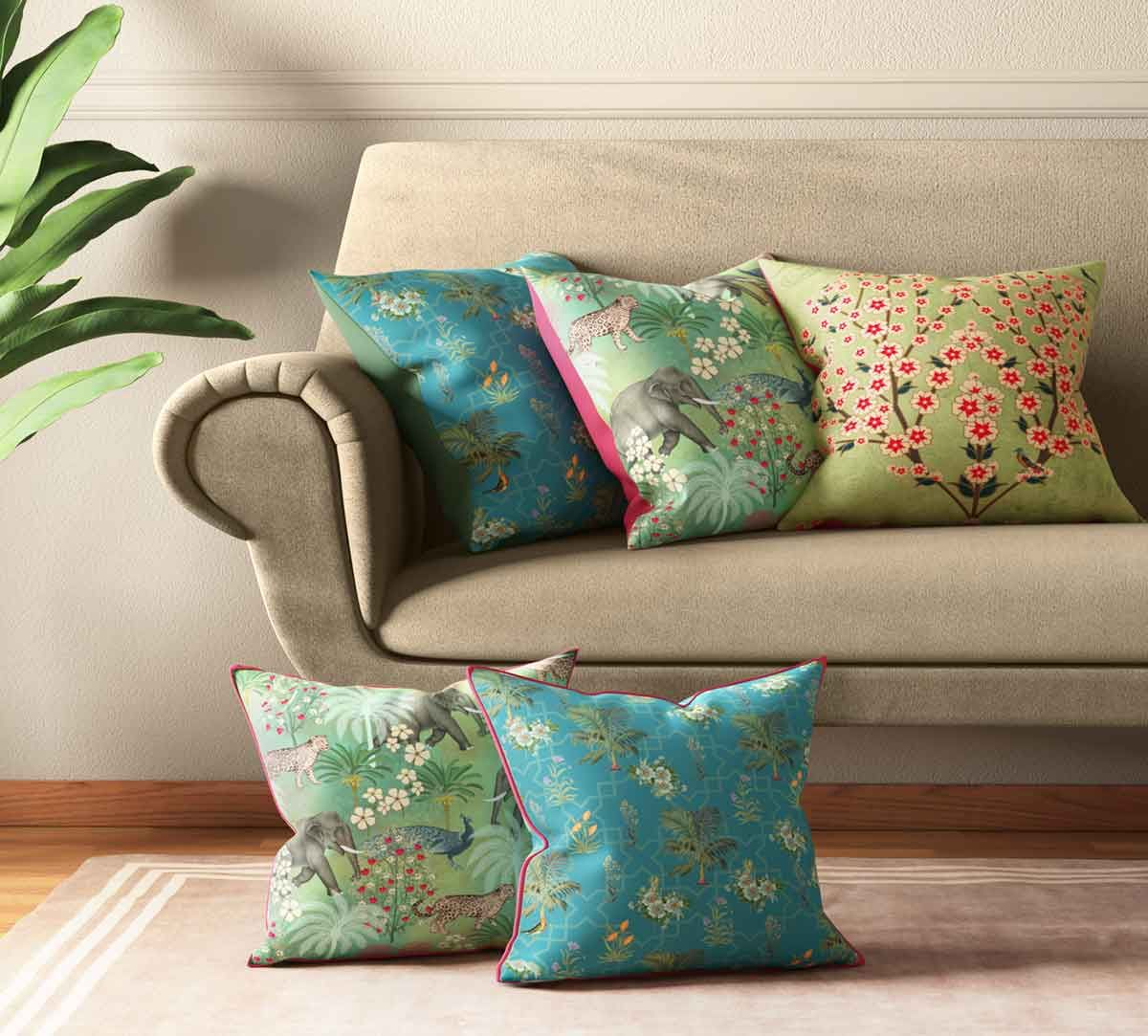 India Circus Bougainvillea Delights Cushion Cover Set of 5