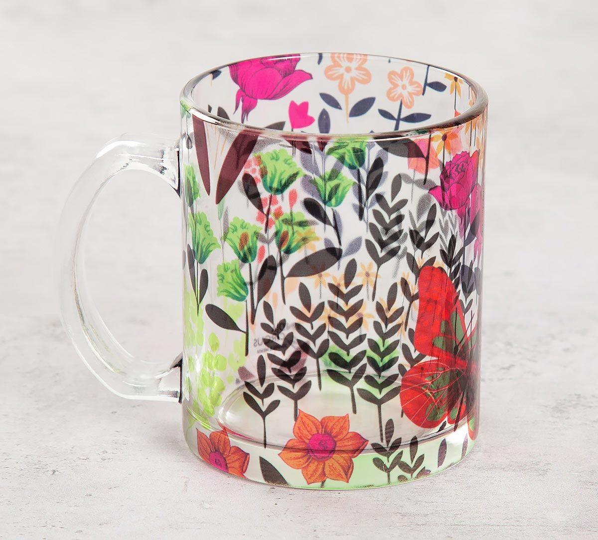 India Circus Bright Mimosa Florals Glass Mug