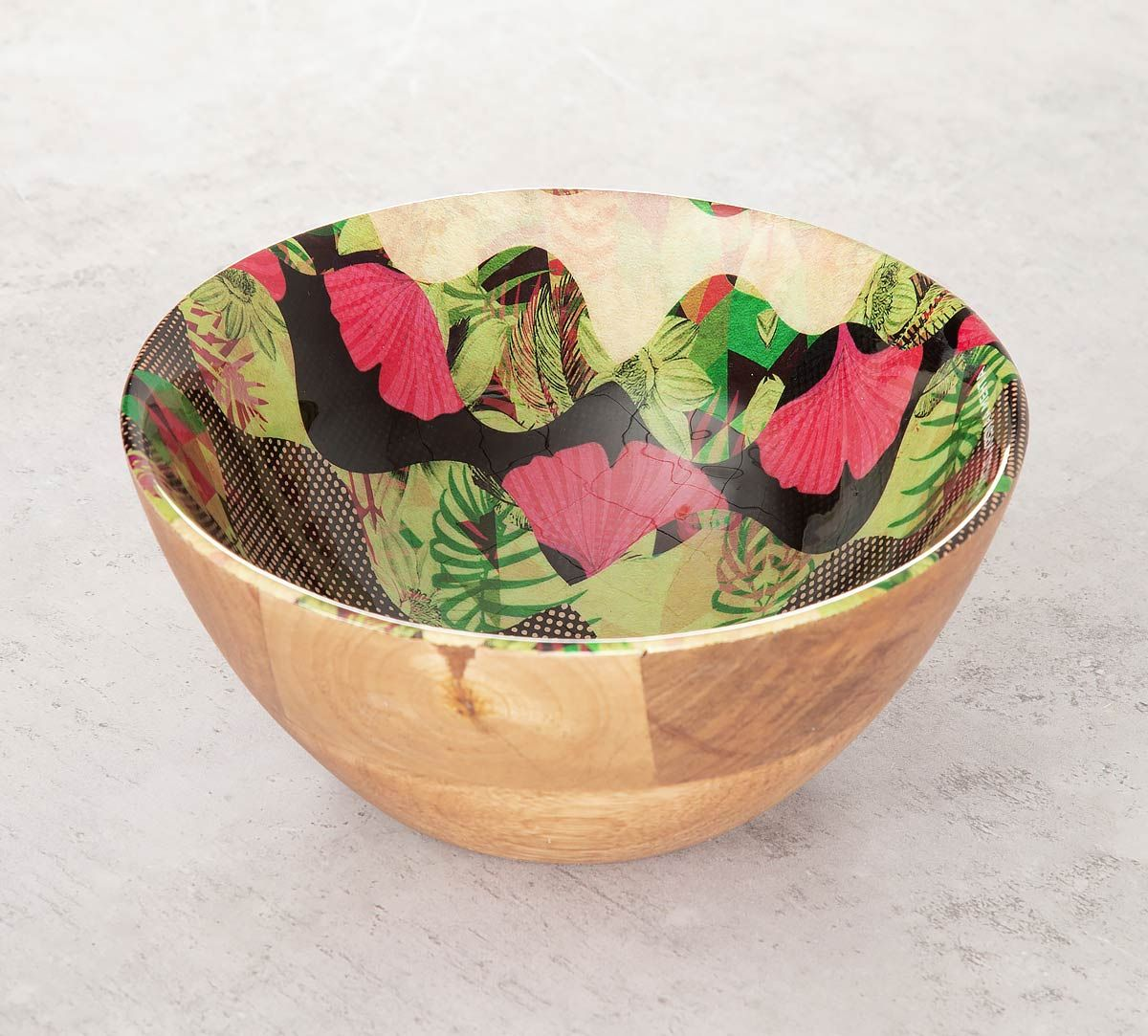 India Circus Bubbled Illusion Wooden Bowl