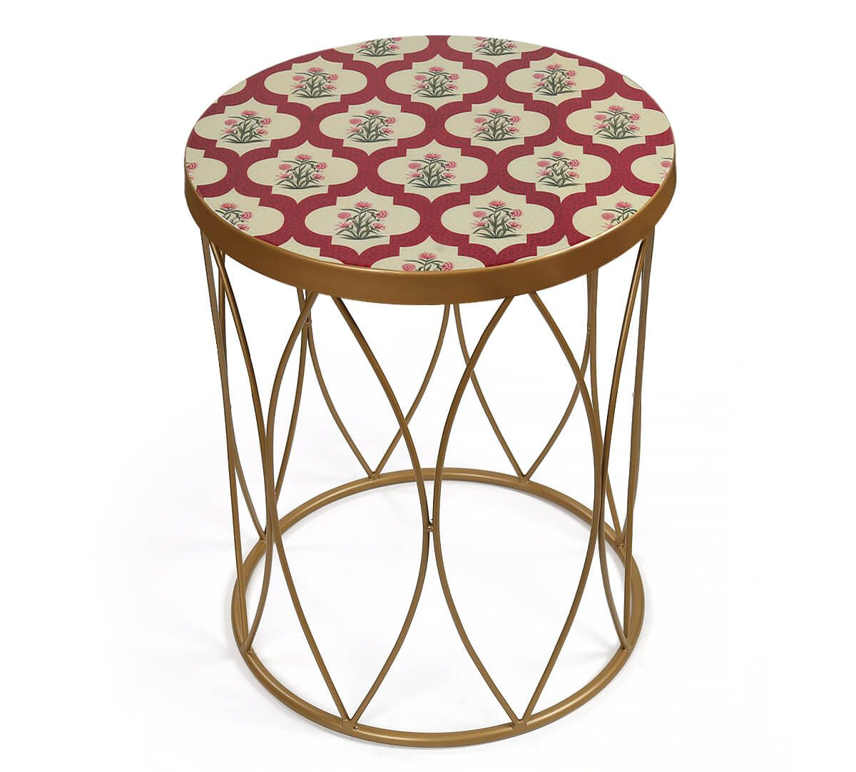 India Circus by Krsnaa Mehta Poppy Flower Scarlet Side Table