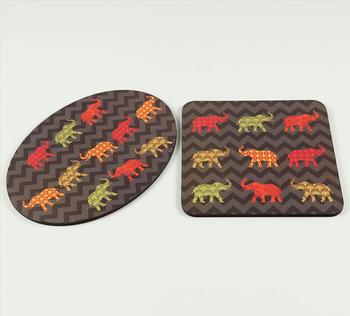 India Circus by Krsnaa Mehta Tusker Delight Trivet Set of 2