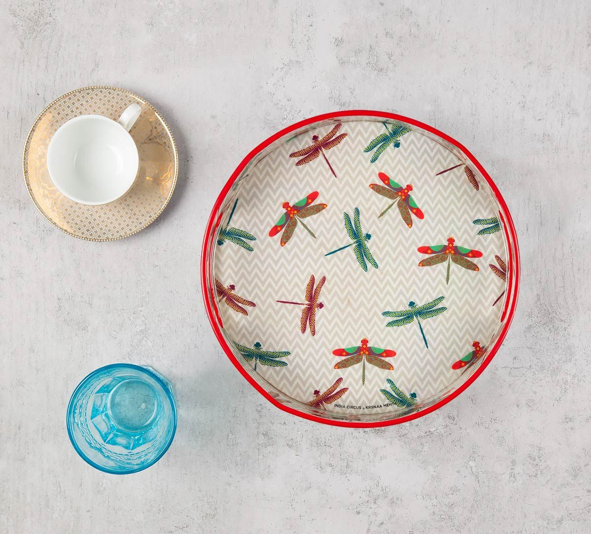 India Circus Chevron Butterflies Round Serving Tray
