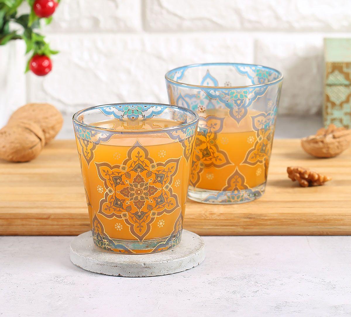 India Circus Classic Floral Star Glass Tumbler Set of 2
