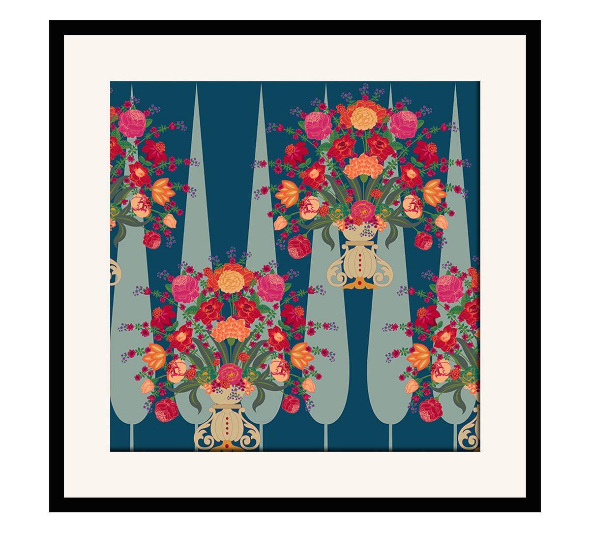 India Circus Conifer Affair 16 x 16 and 24 x 24 Framed Wall Art