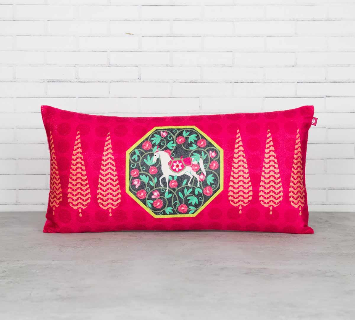 India Circus Conifer Spades and Stallion Reiteration Blended Velvet Cushion Cover