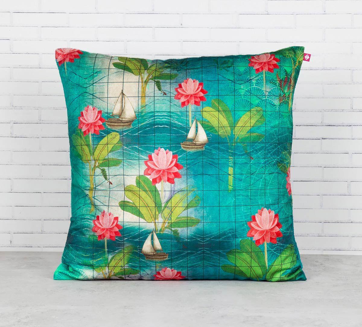 India Circus Cosmic Sail Blended Velvet Cushion Cover