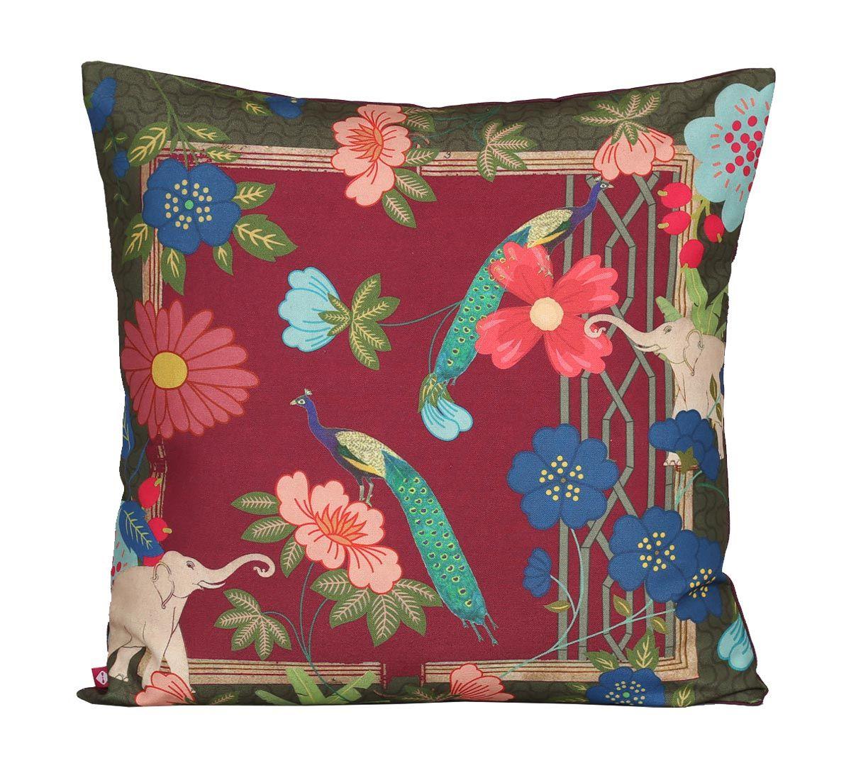 India Circus Fauna Darbar Canvas Cushion Cover