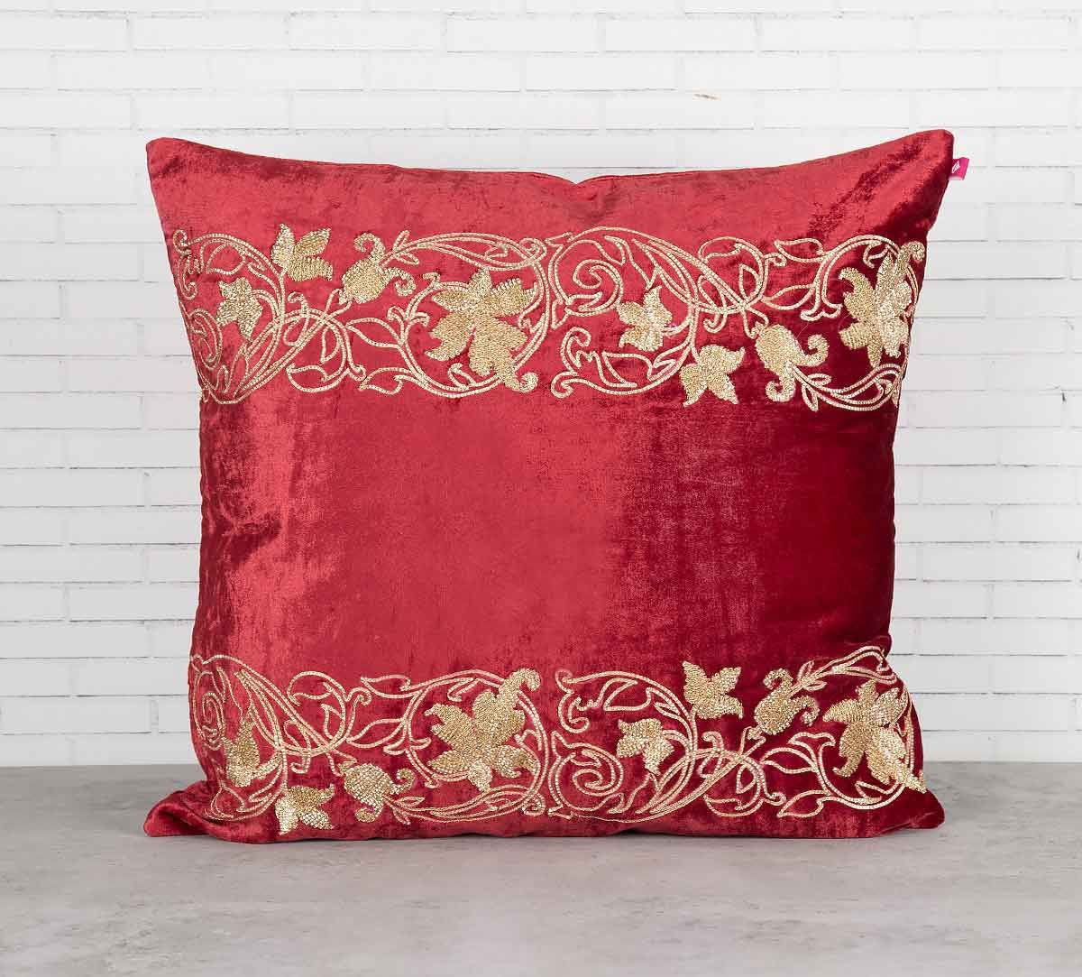 India Circus Floral Bandage Crimson Embroidered Velvet Cushion Cover