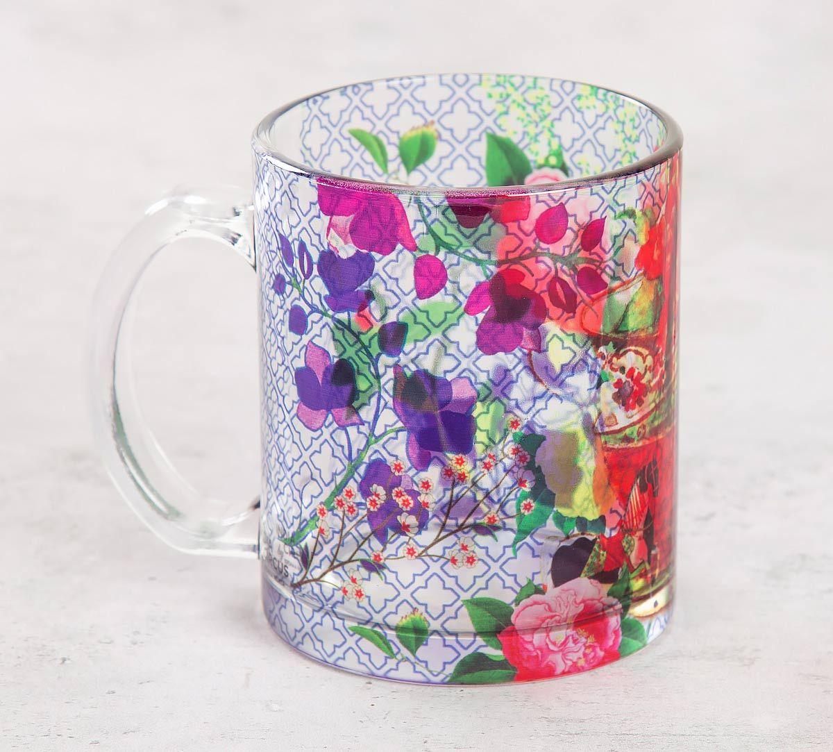 India Circus Floral Cup Illusion Glass Mug