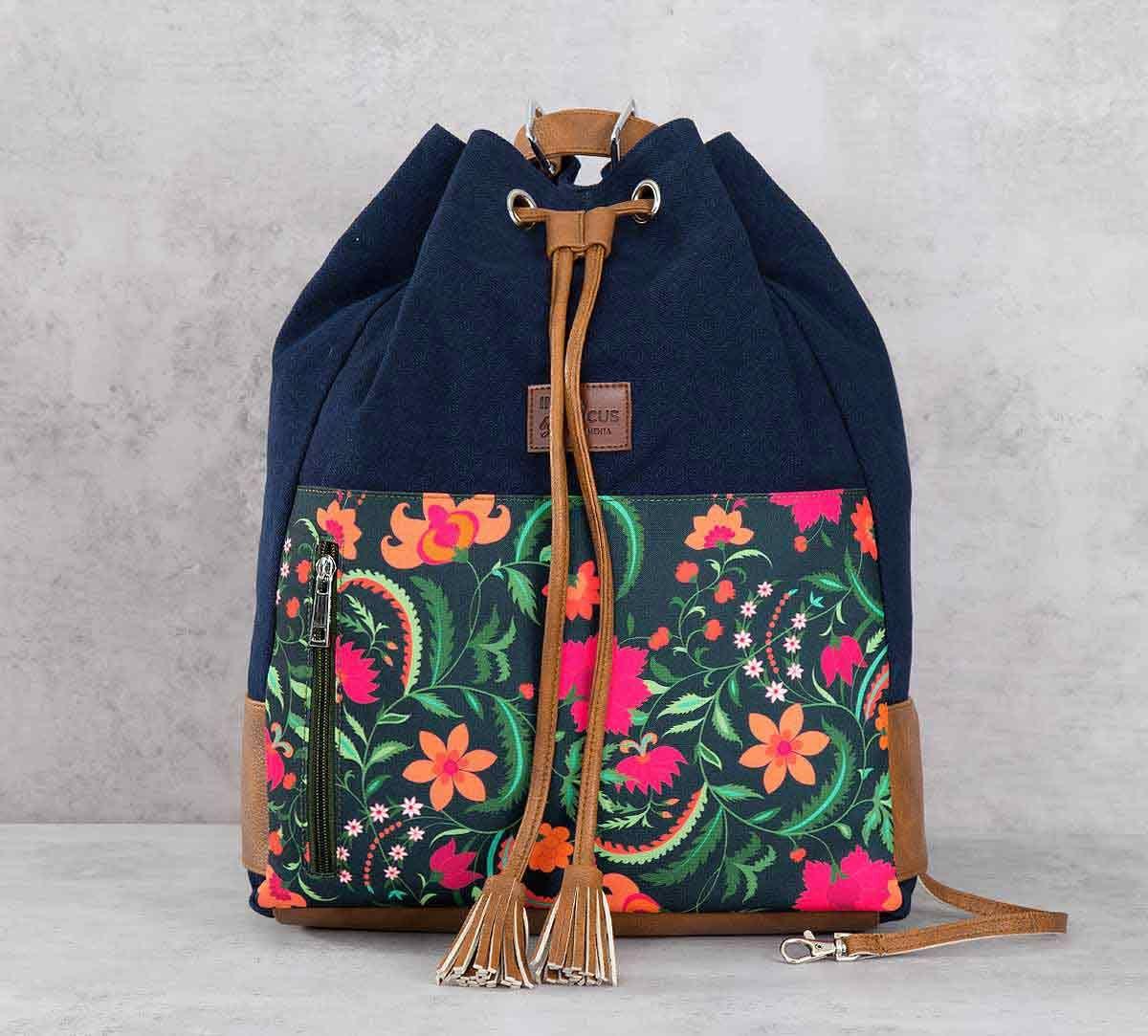 India Circus Floral Ecstasy Denim Hobo Bag