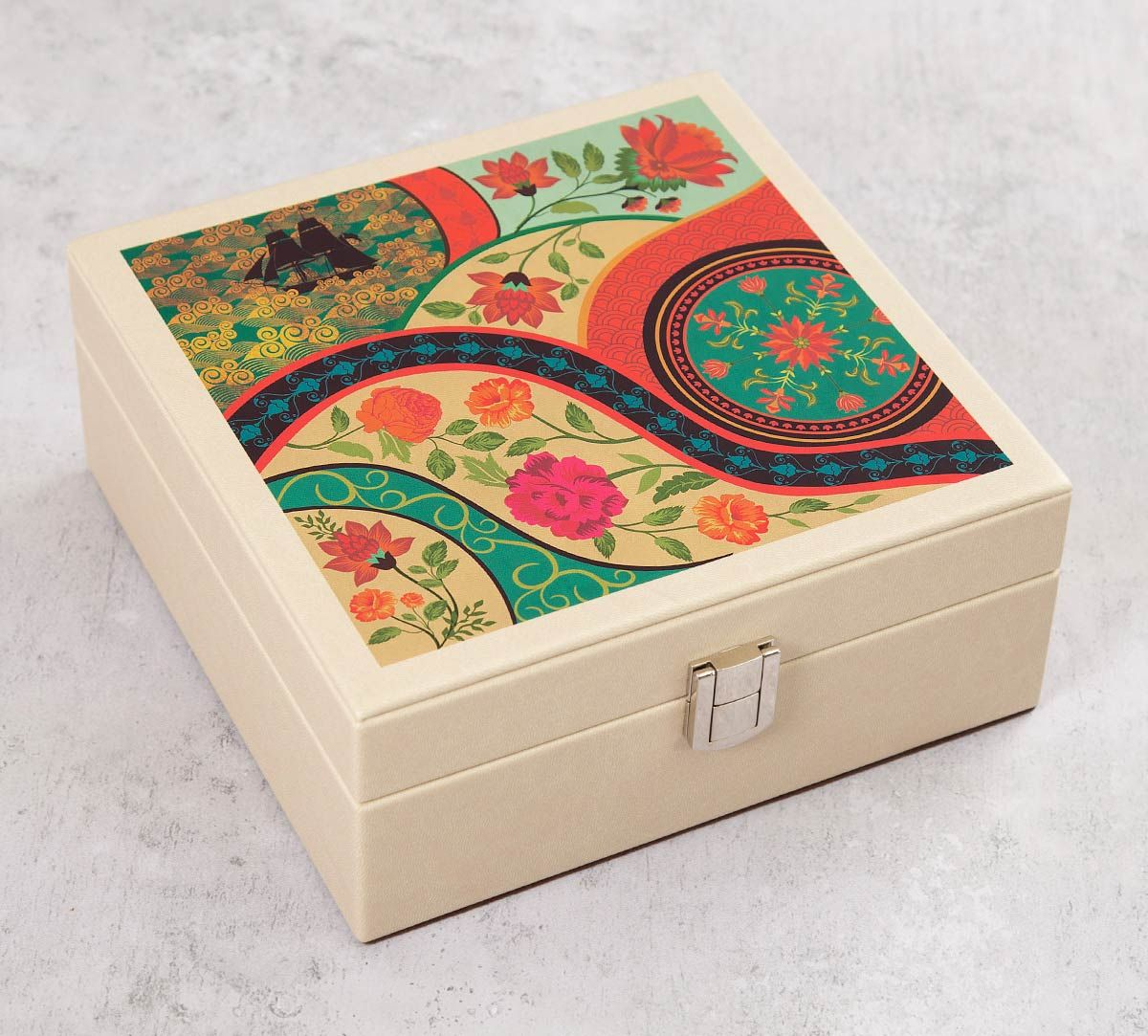 India Circus Floral Embroidery Leather Jewellery Box
