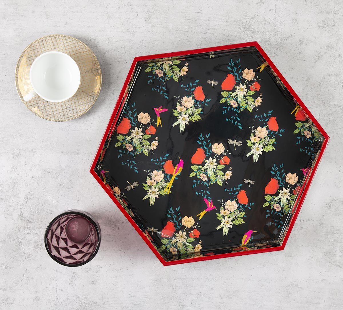 India Circus Floral Fascination Hexagon Serving Tray