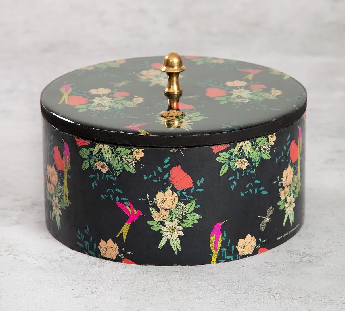 India Circus Floral Fascination Round Storage Box