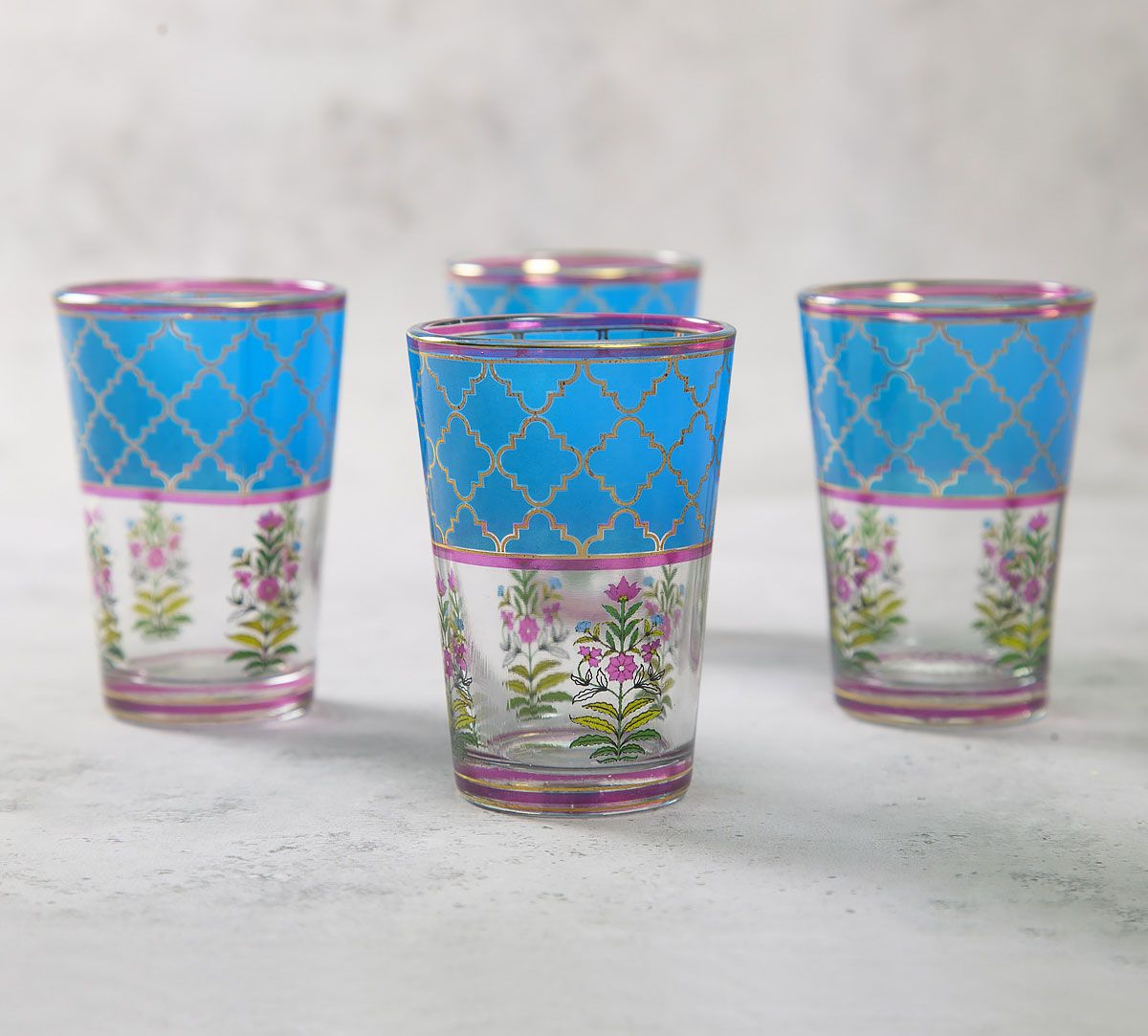 India Circus Floral Lattice Chai Glass (Set of 4)