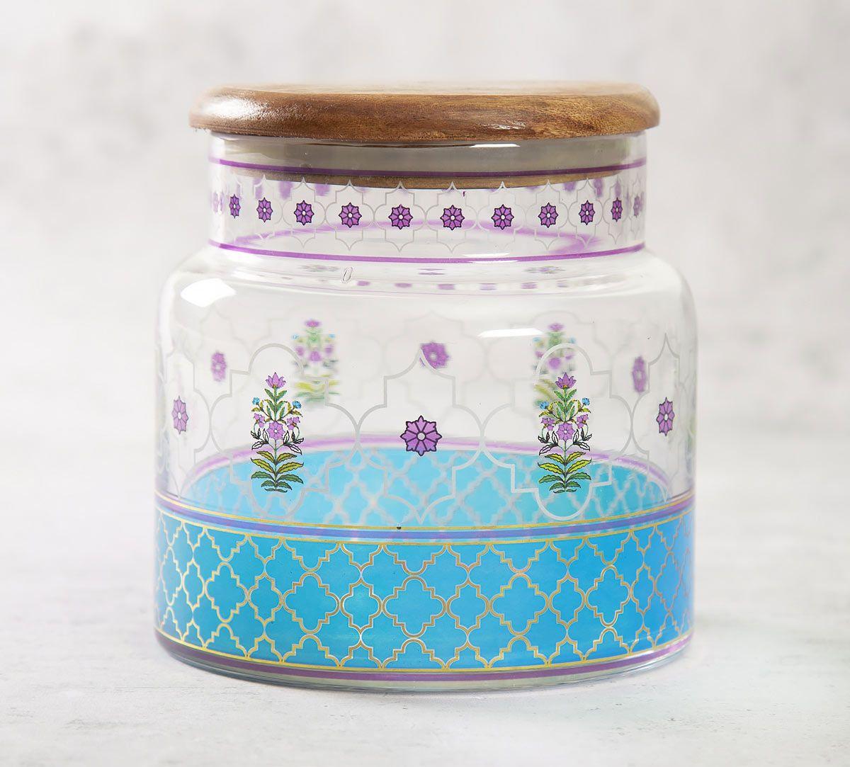 India Circus Floral Lattice Glass Jar