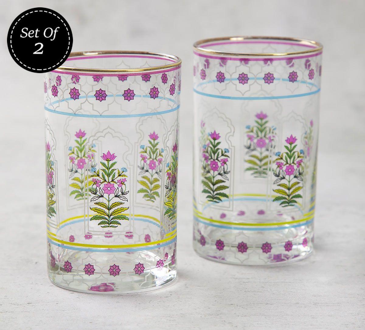 India Circus Floral Lattice Small Glass Tumbler (Set of 2)